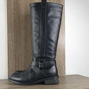 Black tall heeled boots bucco size 6